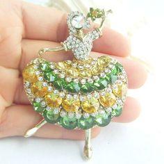 Dancing Girl Dancer Brooch Pin Pendant w Multicolor Rhinestone Crystal EE05948C5