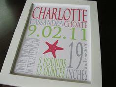 Baby Girl Custom Birth Announcement Print Starfish 8 x 10 CHARLOTTE. $21.00, via Etsy.