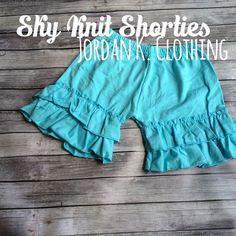 Sky Blue Knit Shorties