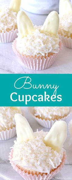 Learn how to make Bunny Cupcakes with cream cheese frosting, coconut, and white chocolate bunny ears. These cute Easter Bunny Cupcakes are easy to make with a simple tutorial. Fun treat for Easter brunch or dinner, kids birth Easter Bunny Cupcakes, Fun Cupcakes, Easter Treats, Birthday Cupcakes, Cupcake Cakes, Birthday Parties, Wedding Cupcakes, Easter Food, Birthday Nails