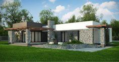 Casa prefabricadas 170m2 —— 15 550 EUR Flat Roof House, Facade House, Duplex House Plans, Modern House Plans, Bungalow House Design, Modern House Design, Modular Home Plans, Small Villa, One Storey House