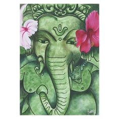 NOVICA Signed Expressionist Painting of Ganesha from India ($128) ❤ liked on Polyvore featuring home, home decor, wall art, expressionist paintings, green, paintings, green home decor, india painting, green wall art and novica