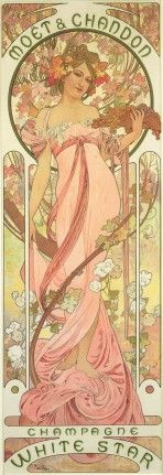 A blond girl with a pink dress and bare shoulders entwined with vines and white flowers holds a bowl of grapes in her left hand and is framed by a floral halo. The words 'Moët Chandon' feature at the top of the poster, and 'Champagne White Star' at the bottom.