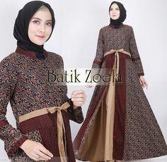 Model Gamis Batik Terbaru 2019 Batik Muslim, Kebaya Muslim, Model Dress Batik, Batik Dress, Batik Fashion, Abaya Fashion, Fashion Models, Girl Fashion, Fashion Outfits
