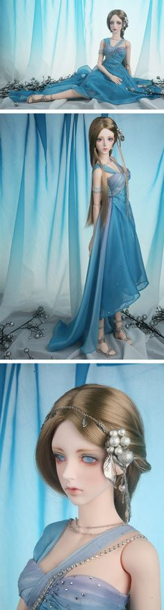 Gorgeous lady bjd, blue dress and cute blonde wig