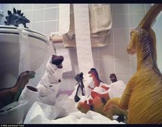 Welcome to Dinovember — Thoughts on creativity — Medium.These parents try to convince their kids that their plastic dinosaurs come to life in the night during the month of November. These are too funny! Plastic Dinosaurs, Dinosaur Toys, Kids Dinosaurs, Dinosaur Photo, Dinosaur Activities, Work Activities, Creative Activities, Creative Kids, Preschool Activities
