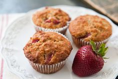 Tender oatmeal muffins peppered with fresh strawberries that have macerated in sugar and balsamic.