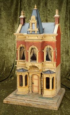 Early German wooden two-story house with elaborate architecture Old Dolls, Antique Dolls, Vintage Dolls, Antique Dollhouse, Dolls House Shop, Fairy Houses, Doll Houses, Two Story Homes, Brick And Stone