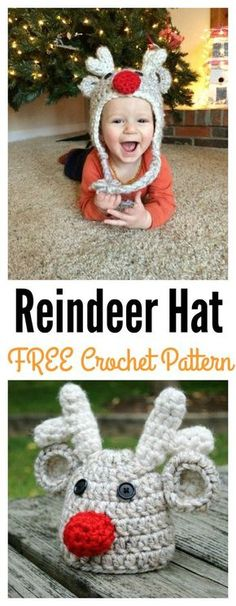 Crochet Baby Hats Toddler Reindeer Hat Free Crochet Pattern - Get into the holiday spirit with these crochet reindeer patterns! These patterns are wildly popular because deer are such beautiful creatures. Crochet Toddler Hat, Crochet Kids Hats, Crochet For Boys, Crochet Gifts, Crochet Deer, Crochet Baby Hat Patterns, Crochet Beanie Pattern, Free Crochet, Crochet Christmas Hats