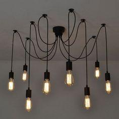 8 Lichte retro Industrie Hängelampe Klassisch Pendelleucht  Deckenlampe Antik DE
