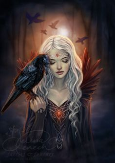 """Selina Fenech, """"Ravenkin"""".  Look at that raven's look of love.  They both have it--but that raven . . . :)  Also, the single teardrop pearl--the color of fire, autumn, sunsets--at the center of her white diadem--oh, lovely."""