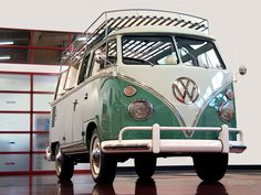 1963 Volkswagen Samba Bus--  loved riding in the bus in a carpool as a kid. Had that Volkswagen leather interior smell. Neat gearshift. Just so cool!