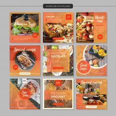 Premium Vector Source by marianissac Portfolio Design Layouts, Layout Design, Graphisches Design, Menu Design, Food Design, Social Media Branding, Social Media Banner, Social Media Marketing, Social Media Template