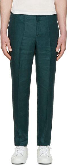 Burberry Prorsum - Green Linen Trousers
