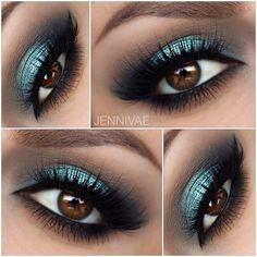 smokey turquoise eye makeup @jennivae