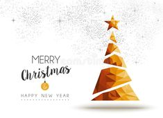 Illustration about Merry christmas and happy new year gold xmas pine tree in low poly triangle style, holiday decoration card design. Illustration of invitation, elegant, event - 78675857 Merry Happy, Merry Christmas And Happy New Year, Gold Christmas, Vintage Christmas, Xmas, Army Wallpaper, Gold Stock, Background Patterns, Reindeer