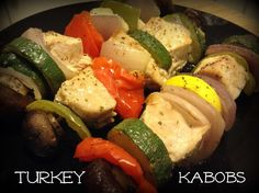 Turkey Kabobs! This is awesome to make in crock pot too come see how! #jennieo