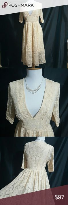 Free People Lace Dress NWT Stunning Free People Lace Dress. Made of different types of lace, I tried to show some in 3rd pic. Pictures just don't do this dress justice. Free People Dresses
