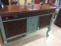 Refinished Antique Buffet Distressed Aged Blue Bombay Mahogany Stain