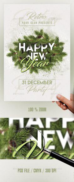 2018 New Year Flyer | Fonts-logos-icons | Pinterest | Flyer template ...
