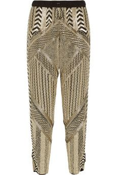 Emilio Pucci Embellished silk-chiffon tapered pants  | NET-A-PORTER  I just Love these pants by Pucci.