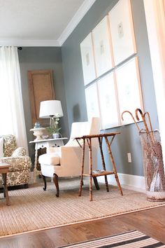 "Paint ""Duxbury Gray""BM  Curtains: Ikea  Rug: Pottery Barn  Coffee Table: World Market  Frames: Ikea"