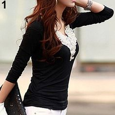 Women's Embroidery Lace Decoration Tops V Neck Long Sleeves Slim Cotton T-Shirt smt102