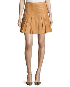 TBYK4 Halston Heritage Pleated-Hem Leather Skirt, Rust