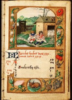 April - Book of Hours in Latin and Dutch (use of Liège), Diocese Liège (Maastricht?), Franciscus Verheyden (scribe); c. 1500-1525 - The Hague, Koninklijke Bibliotheek, 133 D 11