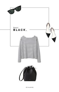 Striped Top | Ray-Ban Wayfarer | Zara Pointed Flats | Steven Alan Bucket Bag My wardrobe is really lacking some black basics. I tend to go for the lighter, neutral colors so I'm really wantin…