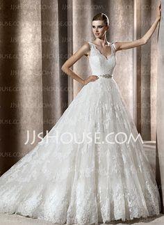 Wedding Dresses - $234.99 - A-Line/Princess V-neck Chapel Train Satin  Lace Wedding Dresses With Lace  Beadwork (002004754) http://jjshouse.com/A-line-Princess-V-neck-Chapel-Train-Satin--Lace-Wedding-Dresses-With-Lace--Beadwork-002004754-g4754