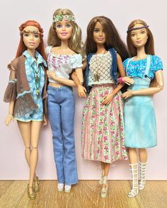 Hippie Chic ☮ Dolls L-R: Fashionista on Barbie Style body, Glam Vacation Barbie on M2M body, Petite Fashionista on 'Swappin' Styles' body & Fashionista on M2M body. #barbie #barbiestyle #barbiedoll #barbieclothes #barbiemadetomove #madetomovebarbie #barbieglamvacation #barbiefashionista #petitebarbie #thedollevolves #dollphotogallery #hippiechic #70sfashion #70sstyle #hippies #woodstockstyle #retrostyle