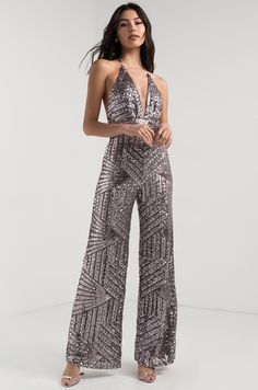 e1cf96596882 AKIRA Plunging Halter Neck Wide Leg Sequin Backless Jumpsuit in Pewter