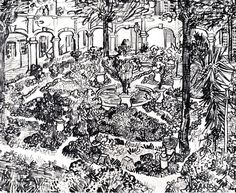 Courtyard of the Hospital at Arles, The - Vincent van Gogh . Created in Arles in April, Located at Van Gogh Museum Vincent Van Gogh, Van Gogh Drawings, Van Gogh Paintings, Ink Drawings, Matisse Paintings, Van Gogh Museum, Art Van, Van Gogh Zeichnungen, Sketches