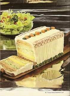 Cream cheese sandwich loaf, from 20 frosted party sandwich loaf recipes to make. Cream Cheese Sandwiches, Appetizer Sandwiches, Party Sandwiches, Appetizer Recipes, Appetizers, Loaf Recipes, Cake Recipes, Cooking Recipes, Retro Recipes