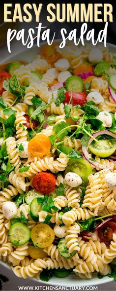 This Easy Pasta Salad is my summer go-to meal - great to eat in its own right, or as a side dish as part of some meal-prep lunches. #pastasalad #summerecipes #pasta #salad