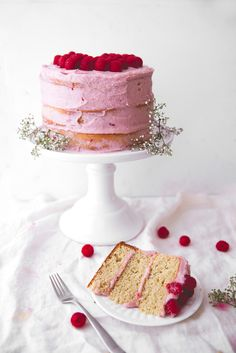 A fluffy banana cake layered with bright raspberry frosting makes for a show stopping springtime dessert.