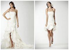 Organza Strapless Mermaid 2 in 1 Wedding Dress, I like the short dress
