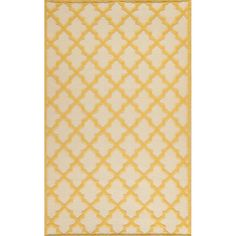 Hand-woven wool rug with quatrefoil motif.Product: RugConstruction Material: WoolColor: Ivory and goldFeatures:  Made in IndiaHand-woven Note: Please be aware that actual colors may vary from those shown on your screen. Accent rugs may also not show the entire pattern that the corresponding area rugs have.Cleaning and Care: Professional cleaning recommended