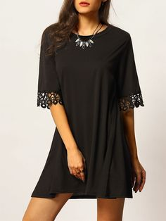 Buy Black Half Sleeve Lace Loose Dress from abaday.com, FREE shipping Worldwide - Fashion Clothing, Latest Street Fashion At Abaday.com