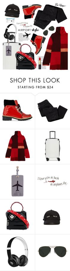 """""""Wanderlust Wonderful: Airport Style"""" by esch103 ❤ liked on Polyvore featuring Ganni, Avon, Roksanda, CalPak, Lolo, Les Petits Joueurs, Yeezy by Kanye West, Beats by Dr. Dre, Ray-Ban and Tim Holtz"""