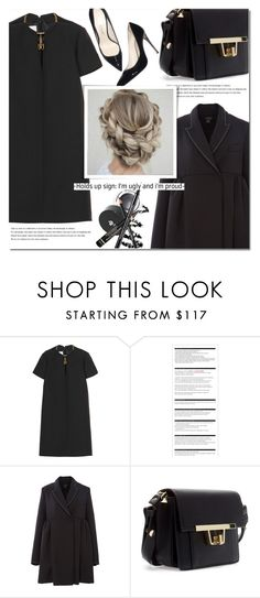 """""""All Black"""" by bibibaubau ❤ liked on Polyvore featuring Valentino, Arche, Balmain, black and dress"""