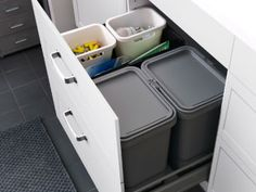 For trash and recycling drawer all in one ; Ikea RATIONELL waste sorting bins in a deep drawer