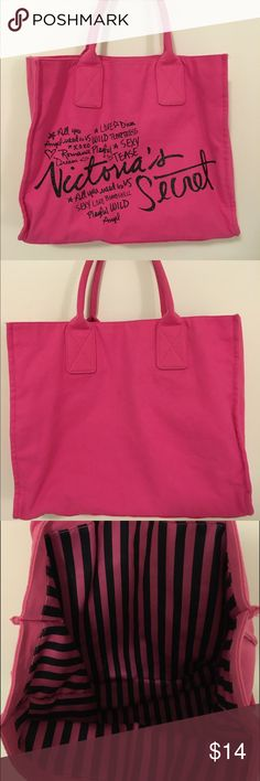Victoria's Secret tote bag never used-great condition!! soft material with black and pink stripes on the inside PINK Victoria's Secret Bags Totes