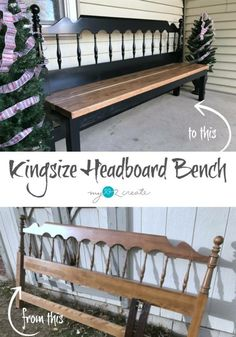 Headboard Bench Ideas repurposed furniture projects that you can make this weekend. Lots of ideas and directions for each headboard bench. Diy Outdoor Furniture, Furniture Projects, Furniture Making, Home Projects, Home Furniture, Modern Furniture, Vintage Furniture, Cheap Furniture, Rustic Furniture