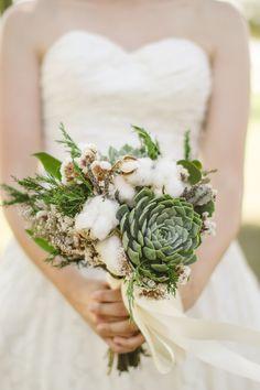 cotton and succulent wedding bouquet by paisley petals flower studio http://www.weddingchicks.com/2013/10/21/simple-succulent-wedding/