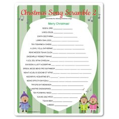 Printable Christmas Song Scramble #game