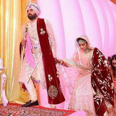 Indian Bridal Outfits, Indian Bridal Fashion, Bridal Dresses, Sikh Bride, Punjabi Bride, Punjabi Suits, Punjabi Wedding Couple, Punjabi Couple, Wedding Couples
