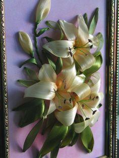 Yellow lilies #ribbonEmbroidery