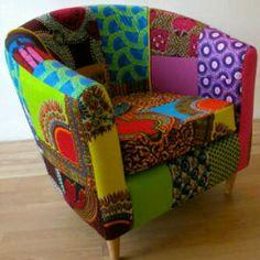 Future chair designed using rich African Ankara fabrics. $900.00
